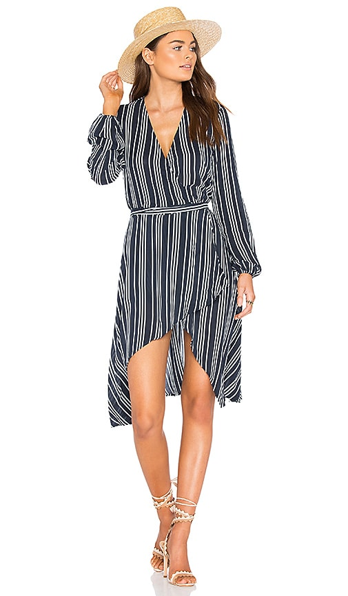 Finders Keepers Ira Wrap Dress in Navy