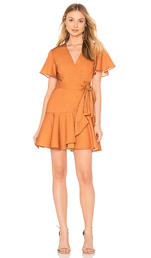 Finders Keepers Vanish Wrap Dress in Orange