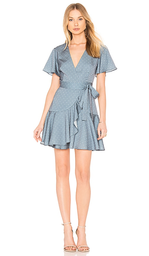 Finders Keepers Vanish Wrap Dress in Blue