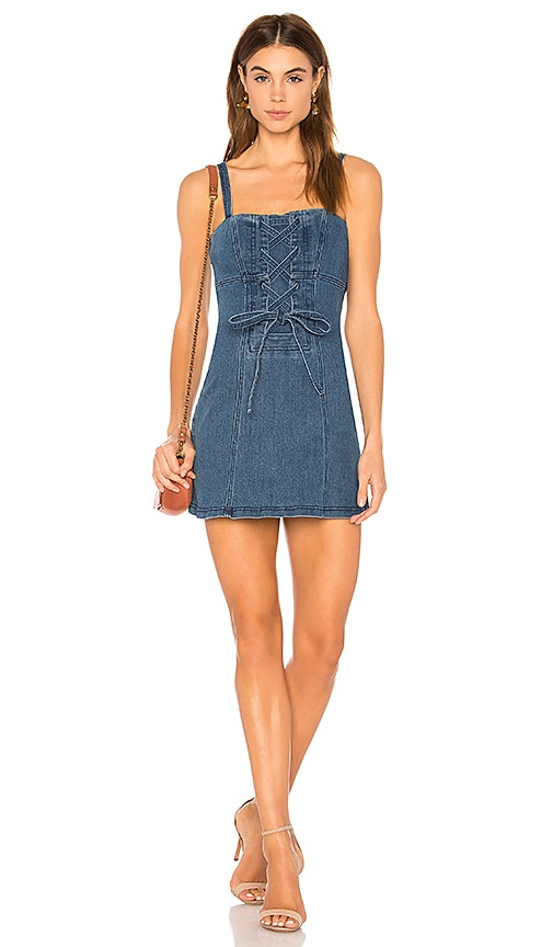 Finders Keepers Inverse Denim Dress in Blue