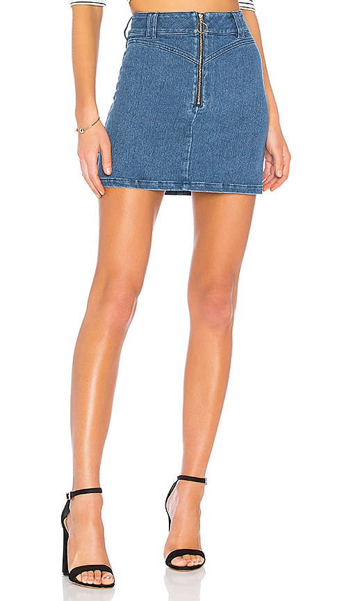 Finders Keepers Slide Denim Skirt in Blue