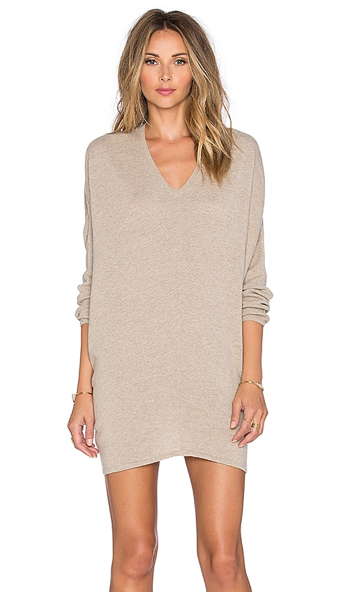 Fine Collection V Neck Sweater Dress in Heather Beige