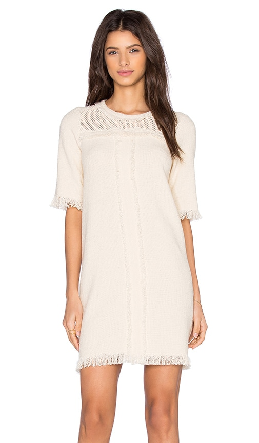 Fine Collection Sweater Dress in Cream