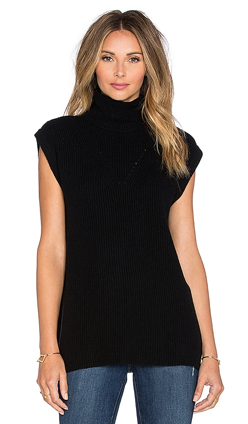 Fine Collection Turtleneck Short Sleeve Sweater in Black | REVOLVE