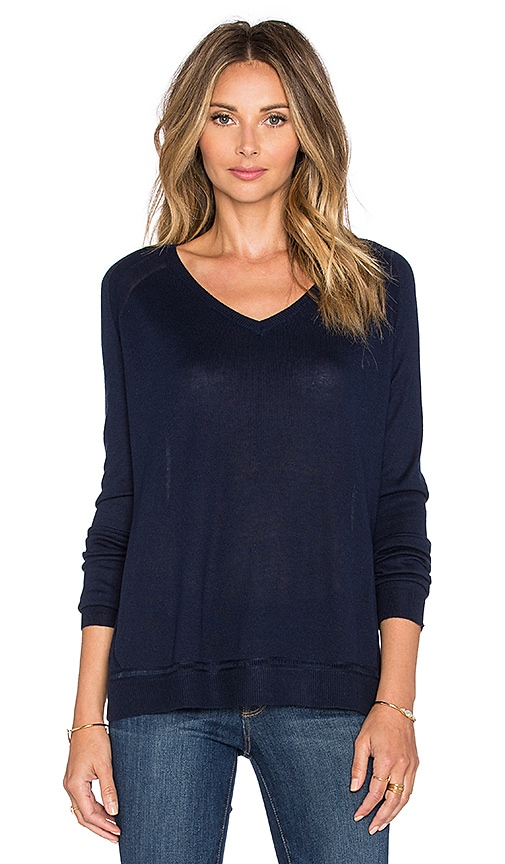 Fine Collection V Neck Sweater in Navy