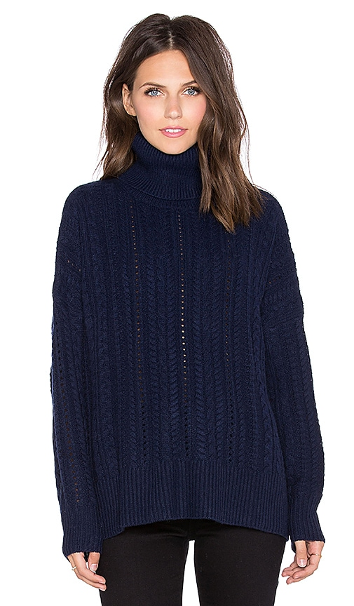 Fine Collection Turtleneck Sweater in Navy