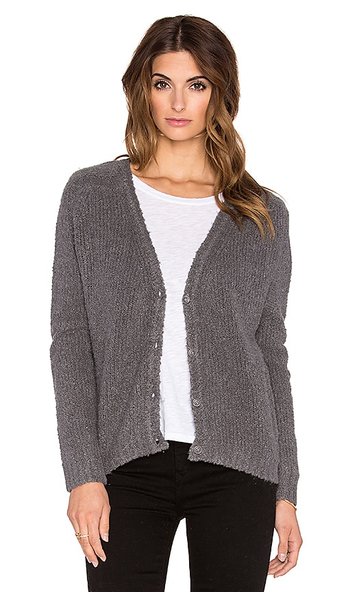 Fine Collection V Neck Cardigan in Heather Anthracite