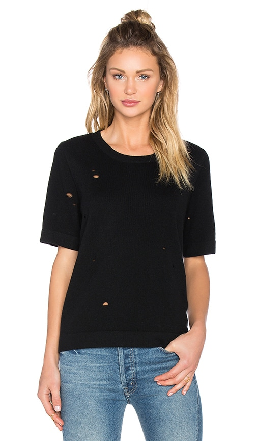 Fine Collection Short Sleeve Sweater in Black