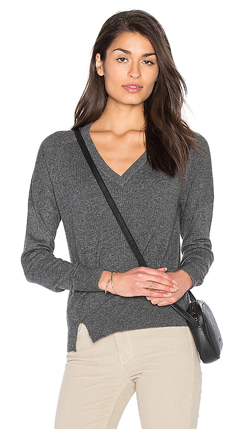 Fine Collection Sonia V Neck Sweater in Charcoal