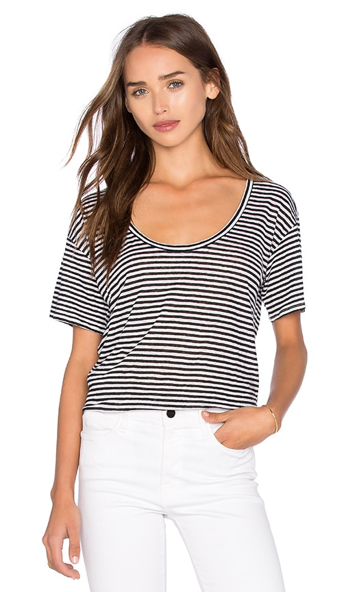 Fine Collection Scoop Neck Top in Black & White