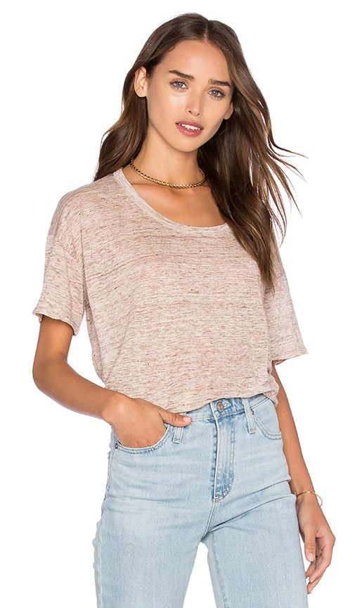 Fine Collection Short Sleeve Top in Beige