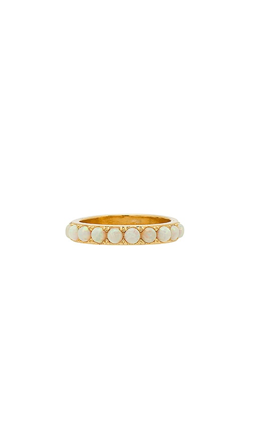 Five and Two Isla Stoned Band Ring in Metallic Gold