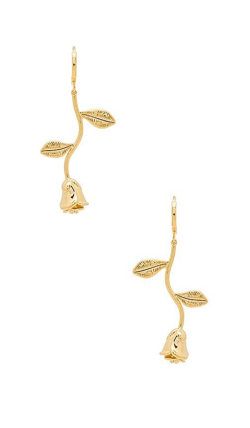 Five and Two Alex Long Rose Hoop Earrings in Gold