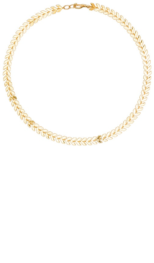 Five and Two Chain Choker Necklace in Metallic Gold