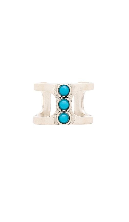 Five and Two Lotus Ring in Silver & Turquoise
