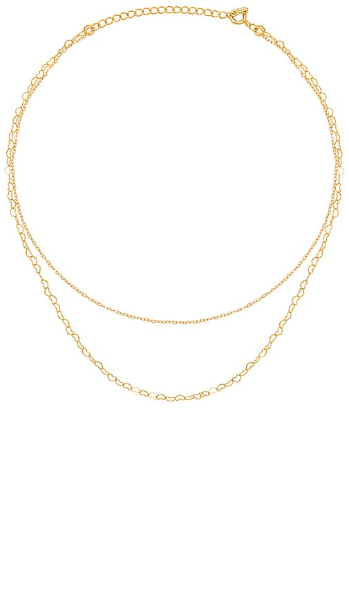 Five and Two Kiara Heart Chain Layered Necklace in Metallic Gold
