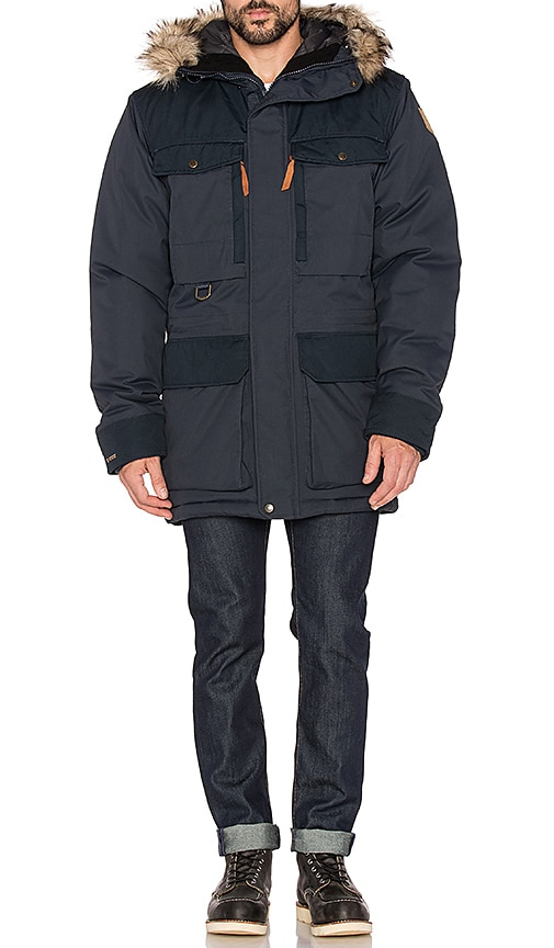 Fjallraven Polar Guide Parka with Faux Fur Lining in Black