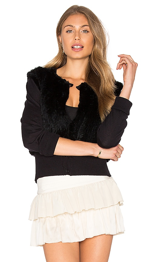 Flannel Dharma Rabbit Fur Cardigan in Black