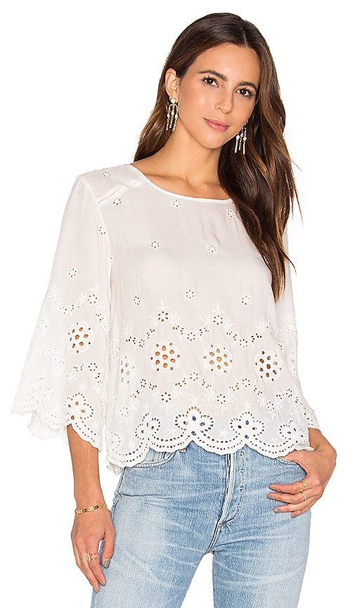 Flannel Australia Clove Top in White