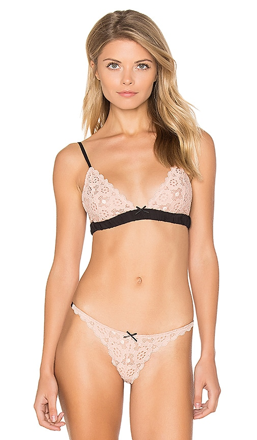 fleur du mal Crochet Lace Simple Triangle Bra in Pink
