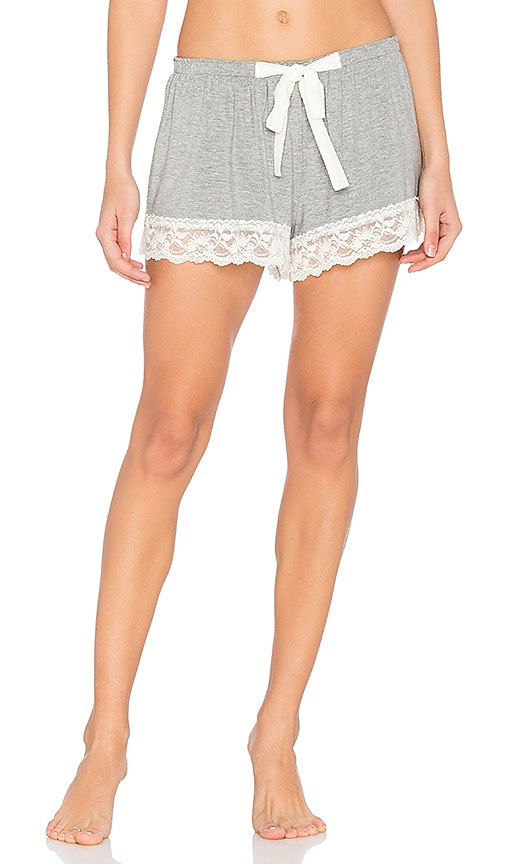 Flora Nikrooz Snuggle Knit Lace Shorts in Gray