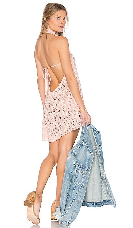 FLYNN SKYE Ariana Mini Dress in Blush Eyelet in Pink