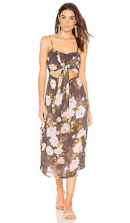 FLYNN SKYE Faith Midi Dress in Charcoal