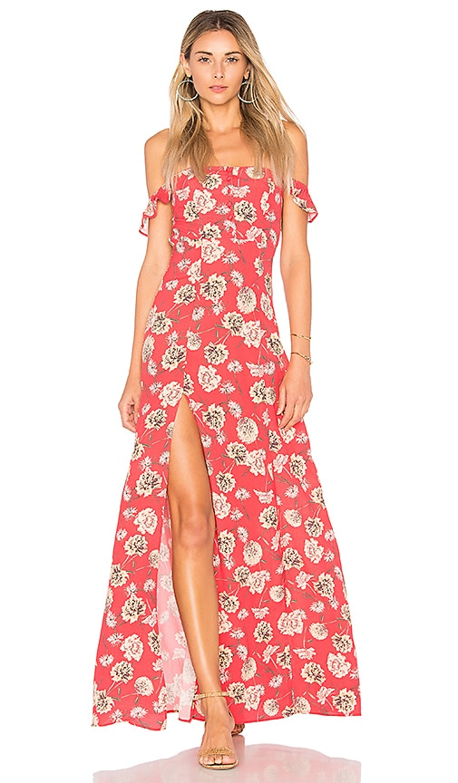 FLYNN SKYE Bardot Maxi Dress in Coral
