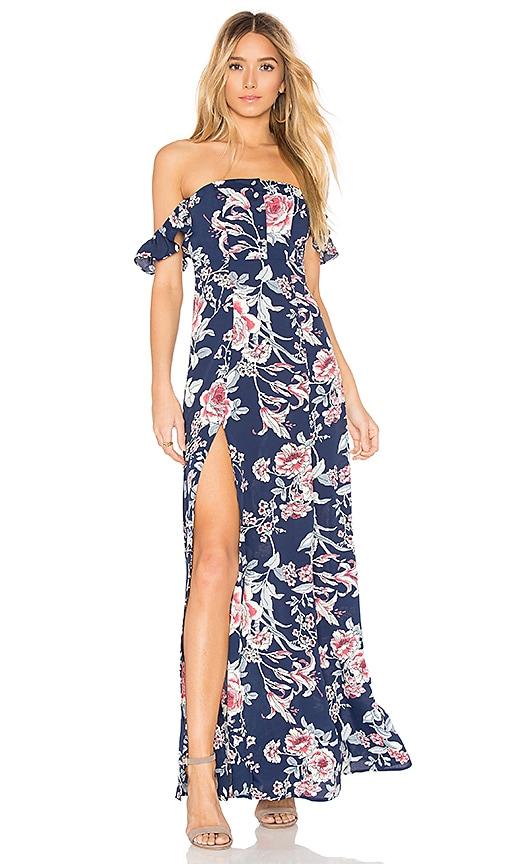 FLYNN SKYE Bardot Maxi Dress in Navy