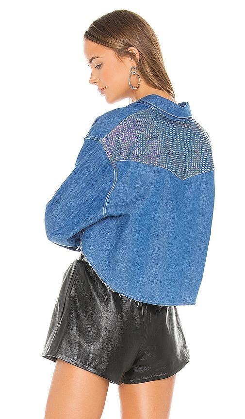 Chiara Crystals Cropped Denim Shirt
