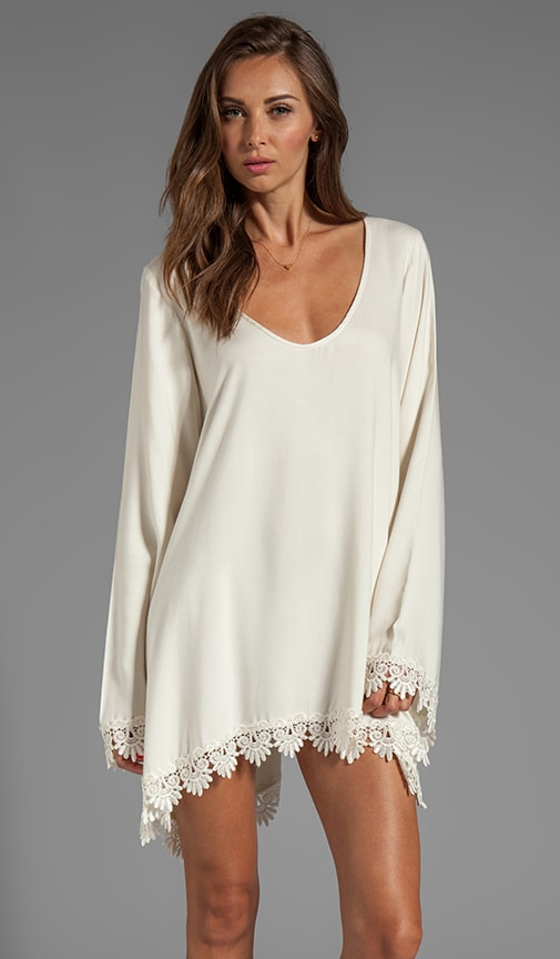 Angelic Long Sleeve Dress w/ Lace Trim