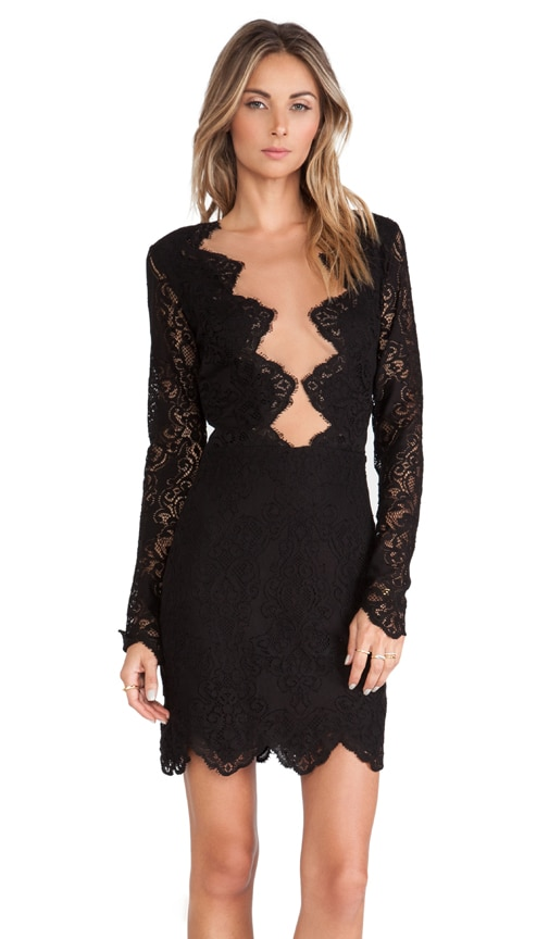 For Love & Lemons Noir Mini Dress in Black