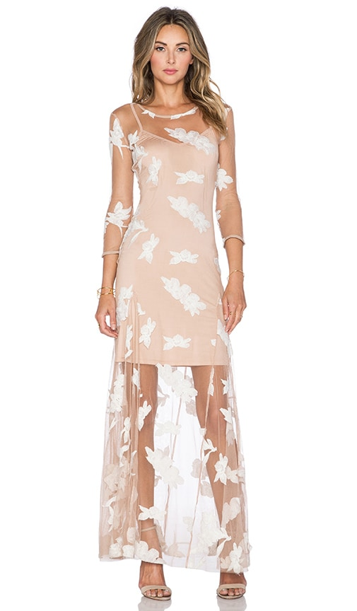 For Love & Lemons Orchid Maxi Dress in Ivory