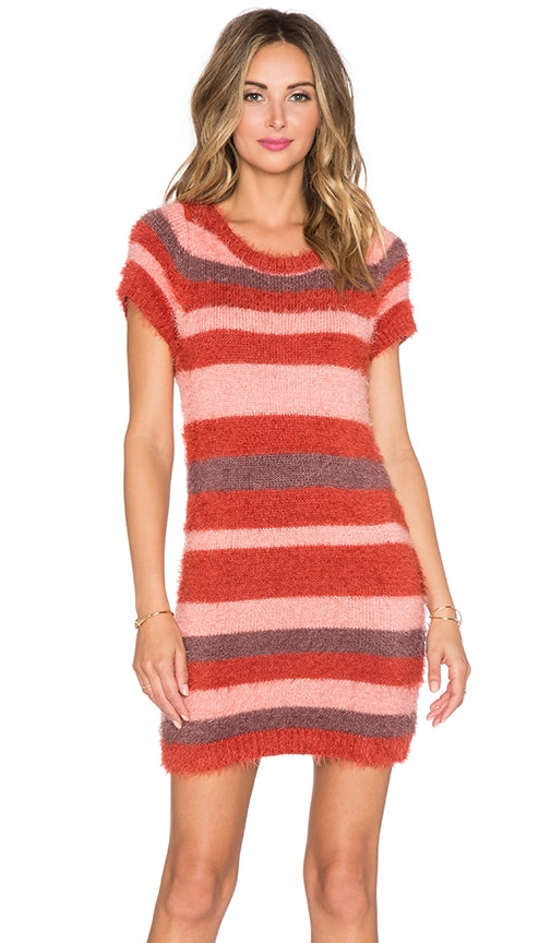 For Love & Lemons Fleetwood Sweater Dress in Burgundy Stripe