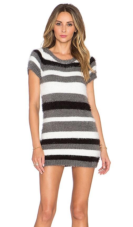 For Love & Lemons Fleetwood Sweater Dress in Grey Stripe