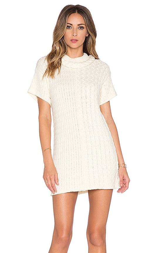 For Love & Lemons Billy Sweater Dress in Creme