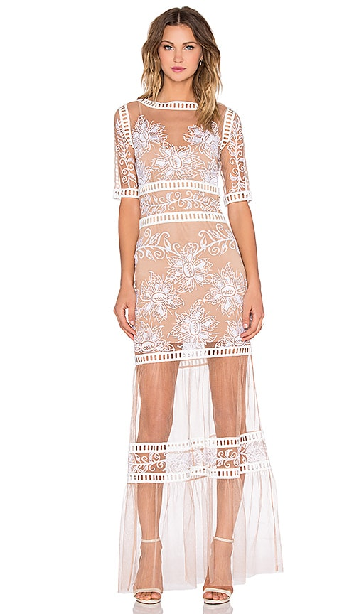For Love & Lemons Desert Nights Maxi Dress in White & Nude