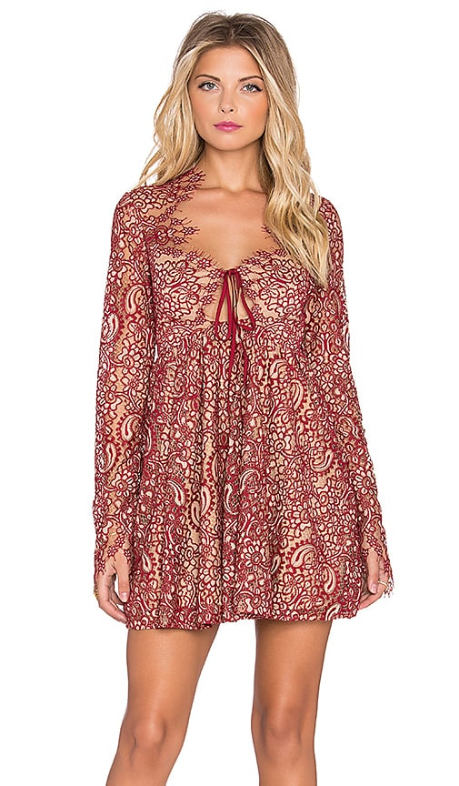 For Love & Lemons Charlie Mini Dress in Red & Nude
