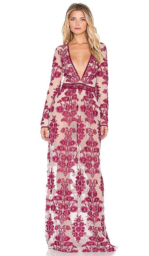For Love & Lemons Temecula Maxi Dress in Wine
