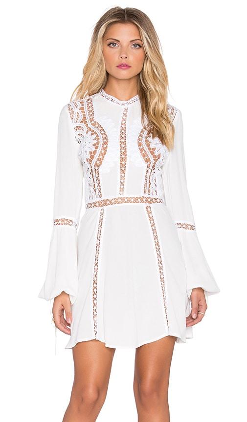 For Love & Lemons Penelope Mini Dress in Ivory