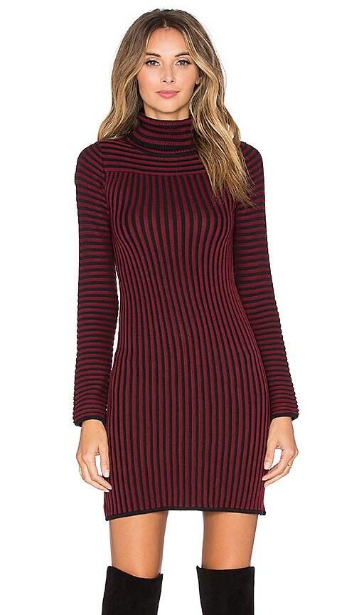 For Love & Lemons Switch Stripe Turtleneck Dress in Maroon Stripe