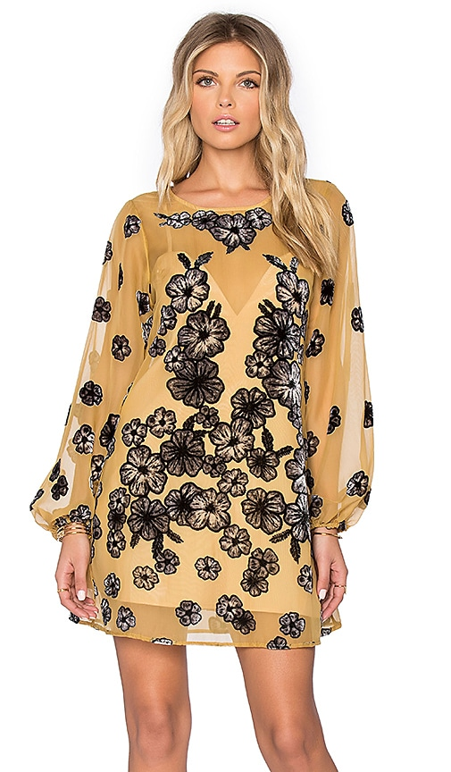 For Love & Lemons Heather Mini Dress in Mustard