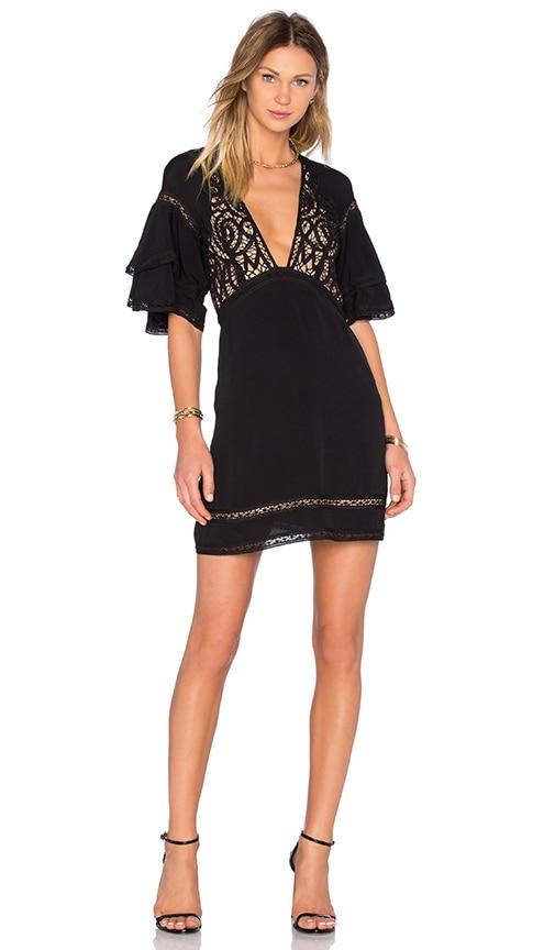 For Love & Lemons Carmine Mini Dress in Black