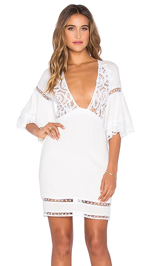 For Love & Lemons Carmine Mini Dress in White