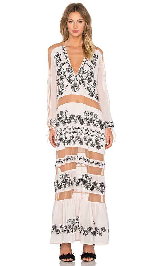 For Love & Lemons Niccola Maxi Dress in Blush