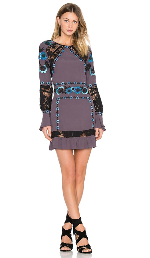 For Love & Lemons Cecelia Mini Dress in Dark Grey