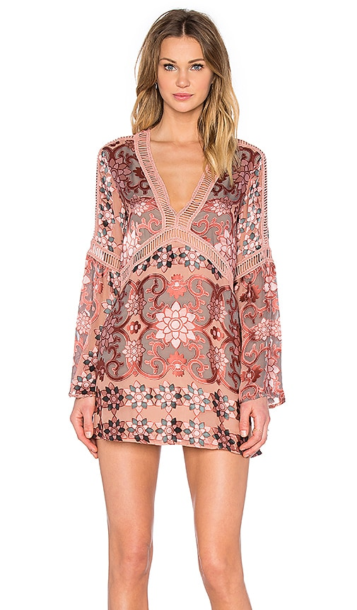 For Love & Lemons Juliet A-Line Dress in Pink