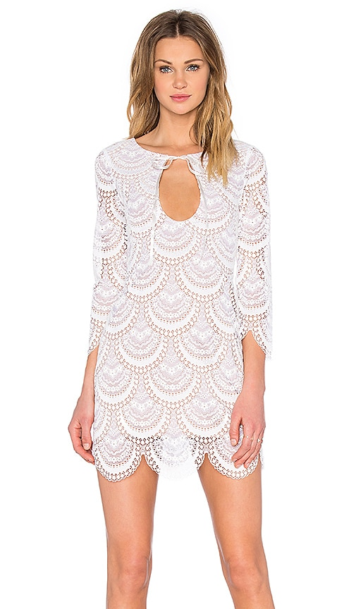 For Love & Lemons Rosalita Mini Dress in White