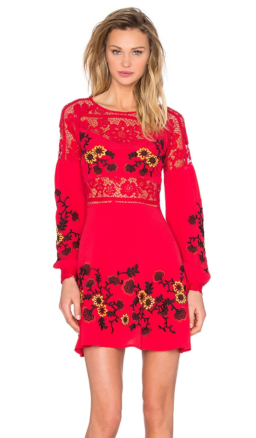 For Love & Lemons Isabella Long Sleeve Dress in Hot Red