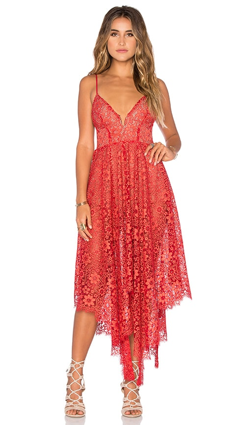 For Love & Lemons Rosemary Dress in Red